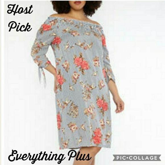 e2601e96ab5 2X Plus Size Printed Off Shoulder Dress